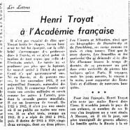 «Henri Troyat à l'Académie française»