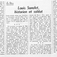 «Louis Sonolet, historien et soldat»