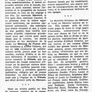 «La réapparition du Mercure de France»