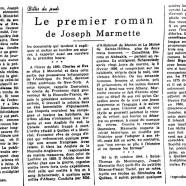 «Le premier roman de Joseph Marmette»