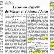 «Le roman d'amour de Musset et d'Aimée d'Alton»