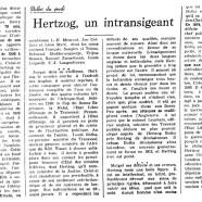 «Hertzog, un intransigeant»