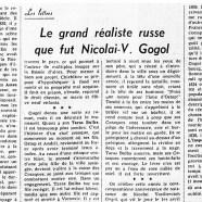 «Le grand réaliste russe que fut Nicolai-V. Gogol»