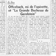 """«Offenbach, roi de l'opérette, et """"La Grande Duchesse de Gerolstein""""»"""