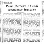 «Paul Revere et son ascendance française»