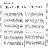 «Heydrich n'est plus»