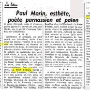 «Paul Morin, esthète, poète parnassien et païen»