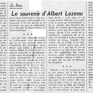 «Le souvenir d'Albert Lozeau»