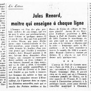 «Jules Renard, maître qui enseigne à chaque ligne»
