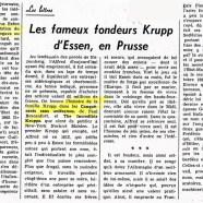 «Les fameux fondeurs Krupp d'Essen, en Prusse»