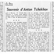 «Souvenir d'Anton Tchékov»