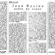 «Jean Racine poète du coeur»
