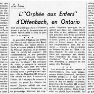 """«L'""""Orphée aux Enfers"""" d'Offenbach, en Ontario»"""