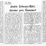 «André Schwarz-Bart, dernier prix Goncourt»