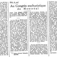 «Au Congrès eucharistique de Montréal»