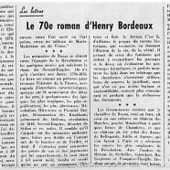 «Le 70e roman d'Henry Bordeaux»