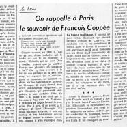 «On rappelle à Paris le souvenir de François Coppée»