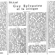 «Guy Sylvestre et la critique»