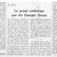 «Le grand catholique que fut Georges Goyau»