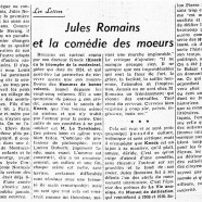 «Jules Romains et la comédie des moeurs»