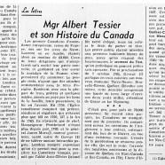 «Mgr Albert Tessier et son Histoire du Canada»