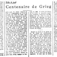 «Centenaire de Grieg»