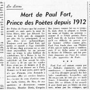 «Mort de Paul Fort, prince des Poètes depuis 1912»
