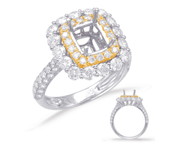 Harry Glinberg Jewelers - YELLOW & WHITE GOLD HALO ENGAGEMENT RING