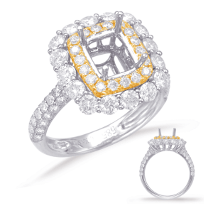 Harry Glinberg Jewelers - YELLOW & WHITE GOLD HALO ENGAGEMENT RING