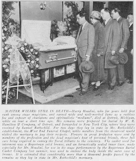 Body of Harry Houdini lying in state at the West End Chapel? |  harryhoudinicircumstantialevidence.com