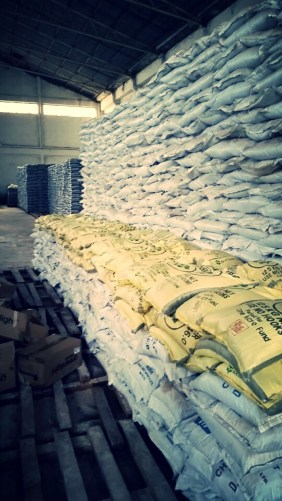 Bags of grains in OAF warehouse