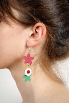 hartiutze cercei hartie colorati floricele stelute hartiutze verde alb rosu