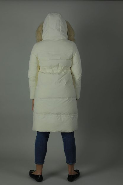 The Charlie Down Coat is perfect for the cooling weather. The Charlie is a high shine beautiful Down filled Nylon coat which features an ample hood and a detachable fur trim for style. The Charlie has a rich white exterior, deep cream contrasting interior, white and silver buttons and zip, two front exterior patch pockets and a interior breast pocket. Back view.