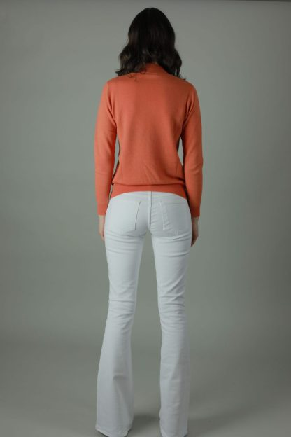 Bring back the retro with our Alia Florence Flare jean. Summer style to Christmas casual the Alia Florence travels light and wears comfortably. Back view.
