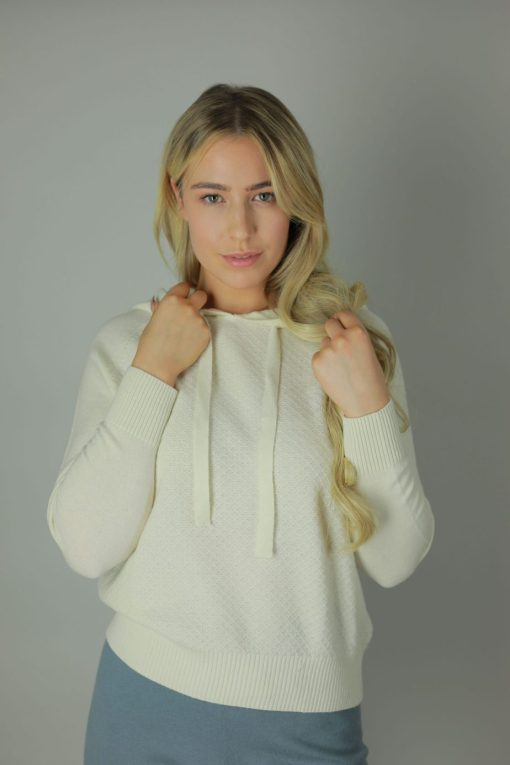 The 100% cashmere hoodies are the luxurious feel you need against your skin. Designed with comfort in mind our cashmere Hoodies are rich in room, comfort, quality and colour. compliments any outfit, both light and roomy it will cool you in the summer months and leave you feeling cozy in the winter. Front view.