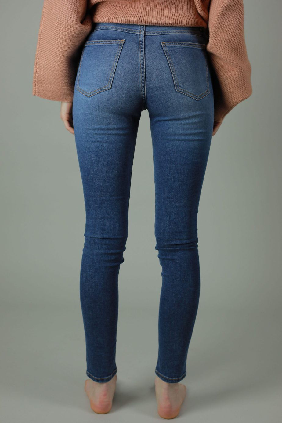 Our High waist Kaila collection are 98% cotton, 2% Lycra. The Kaila New York jean is for the those who are looking for comfort, timeless style and a high quality jean so you'll never have to compromise. Back view.