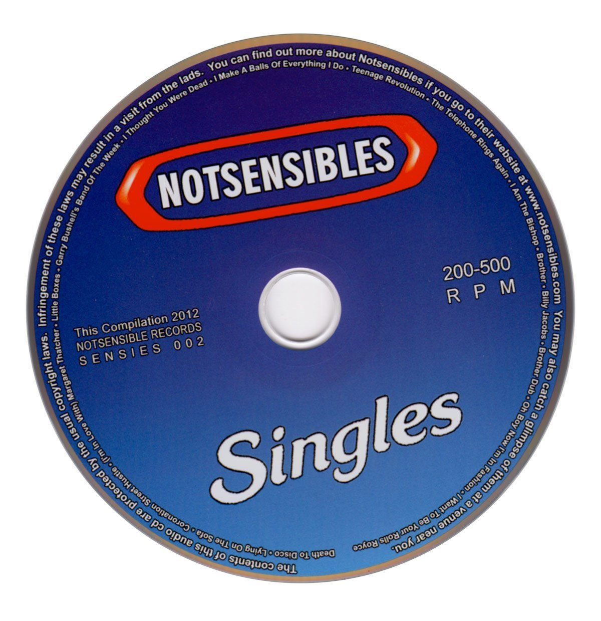 NOTSENSIBLES - Singles CD - From Eli Records