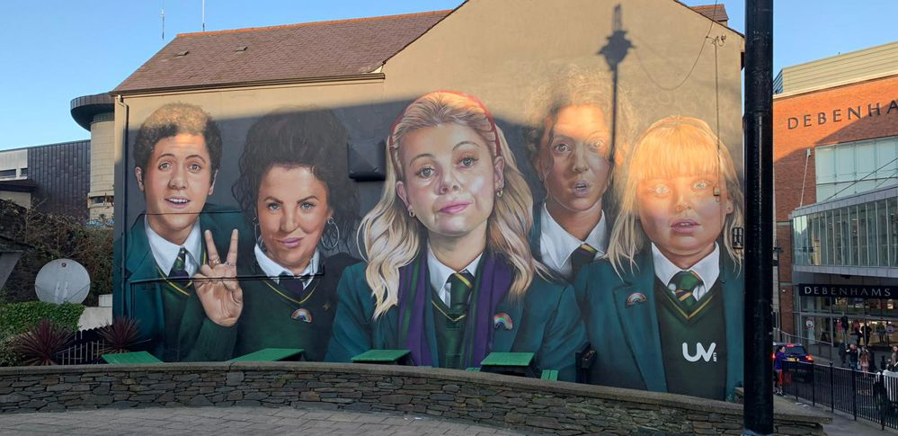 Derry Girls mural, Badger's bar, Derry