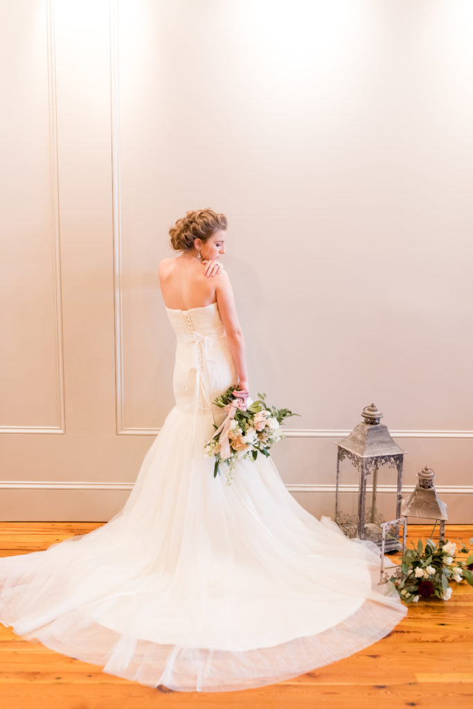 Bride wearing a gown at 718 Venue in Fredericksburg VA