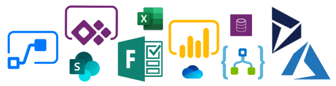 Image of Microsoft 365 Platform tools including PowerApps, Flow, PowerBI, SharePoint, Forms, Excel, OneDrive, CDS, Logic Apps, Dynamics, and Azure