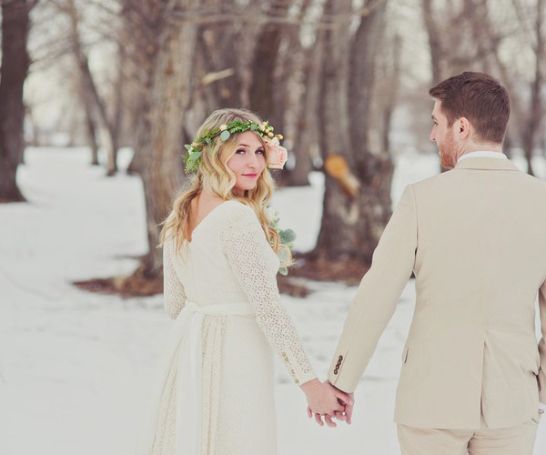 crocheted lace wedding gown
