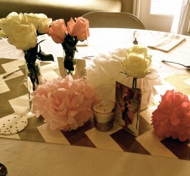 chevrons and rose centerpieces