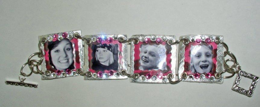 Laminated images to create bracelet