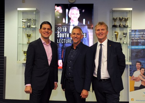 Gary Lineker at the South Shields Lecture hosted by former MP David Miliband, at Harton Academy.