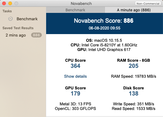 MacBook Air,Novabench,スコア,性能,