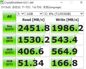 ASUS,ROG Flow X13 GV301QH,GV301QH-R9G1650S32G,レビュー,転送速度,SSD