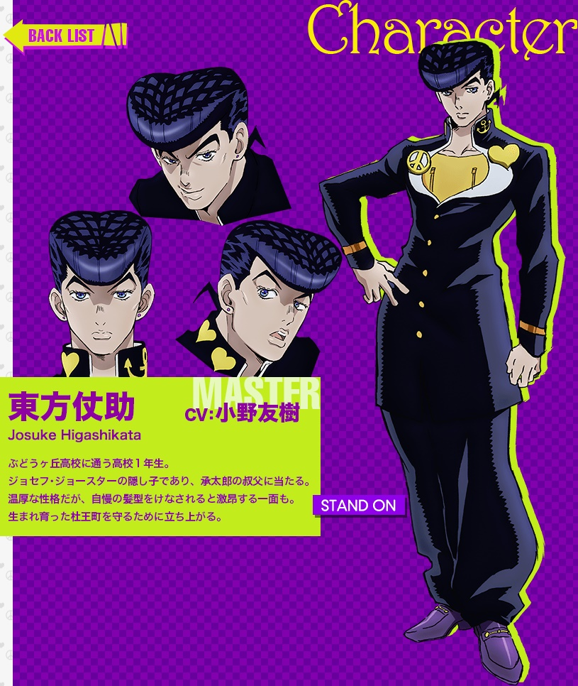 JoJos Bizarre Adventure Part IV Diamond Is Unbreakable anime character design Josuke Higashikata