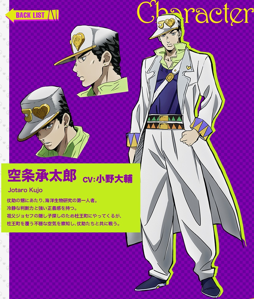 JoJos Bizarre Adventure Part IV Diamond Is Unbreakable anime character design Jotaro Kujo