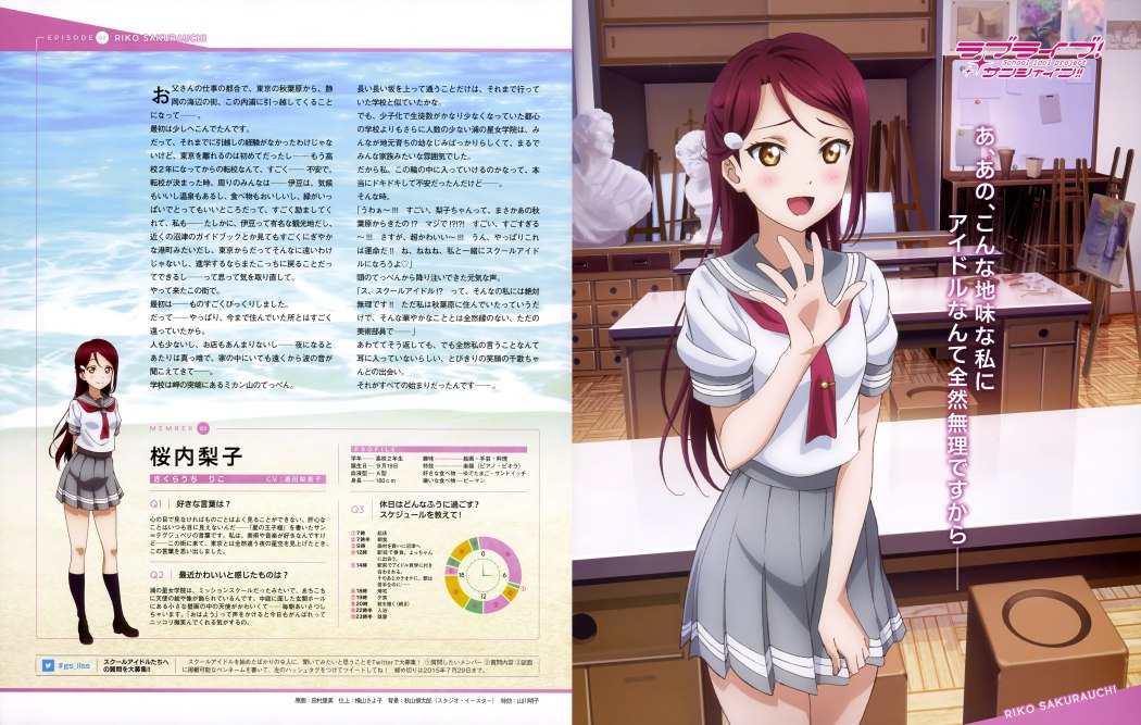 Love Live! Sunshine!! Character Designs Revealed Riko Sakurauchi