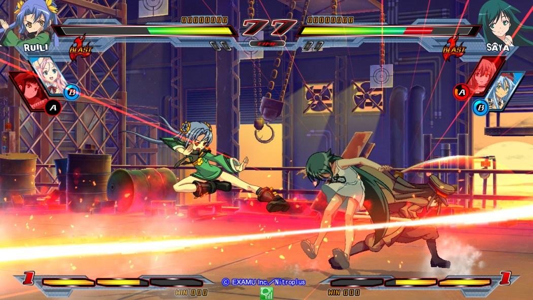 Nitroplus Blasters Heroines Infinite Duel Gameplay haruhichan.com Visual Novel Fighter game screenshot 6